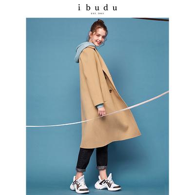 伊布都ibudu2018冬季新款 翻领双排扣腰带长款双面羊毛呢大衣女