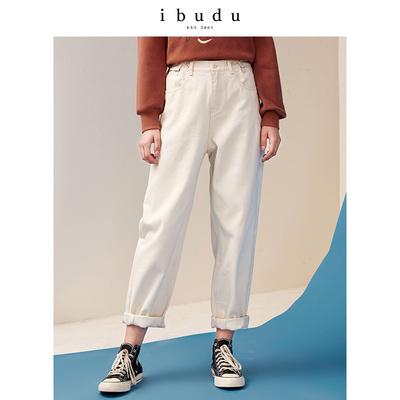 伊布都ibudu2018冬季新款 弹力松紧腰纯棉宽松加绒纯色牛仔长裤女
