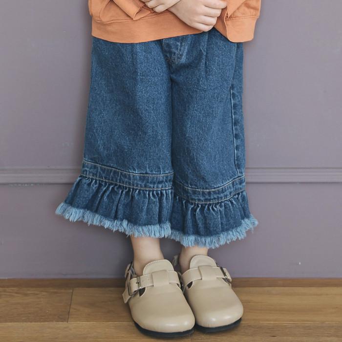 韩国进口童装2018夏款儿童IRU.JR女童毛边时尚阔腿牛仔裤