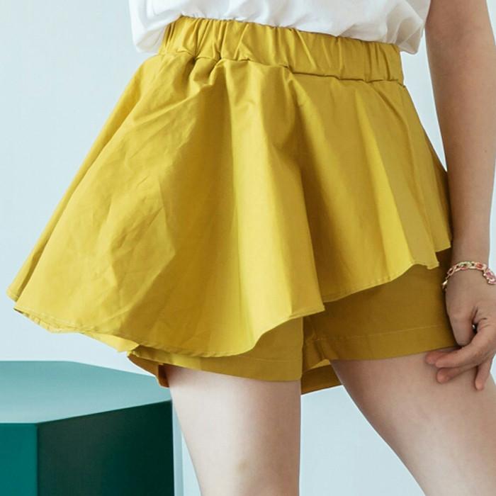 韩国进口童装2018夏款儿童中大童LILA女童百褶荷叶裙裤短裤