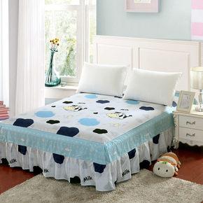 包邮卡通印花斜纹全棉纯棉床裙床笠床单床罩床套1.5米床 1.8米床