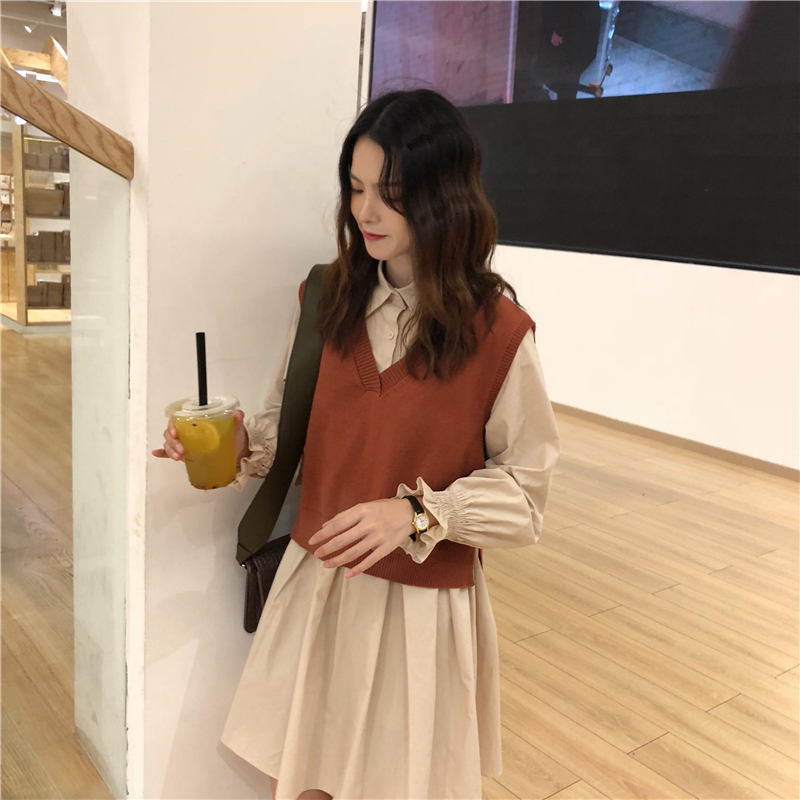 秋冬 new Hong Kong-style women's small fragrance wind loose thin long-sleeved shirt dress +V