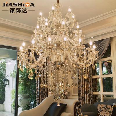 水晶灯客厅灯简约现代大厅复式楼大吊灯别墅楼梯灯长吊灯欧式灯具