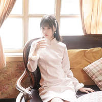 Chuanxiong - <Light pink pearl> Original design Republic of China wind retro girl in the long section cheongsam autumn and winter women's clothing