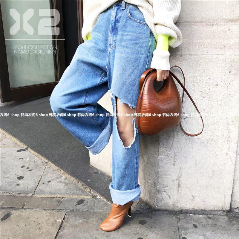 2018秋季新款韩国进口女装代购X2高腰破洞磨白宽松直筒牛仔裤