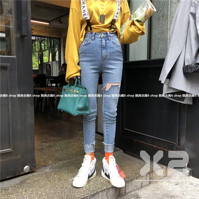 韩国东大门女装代购 2018年秋季新款X2破洞小脚裤毛边修身牛仔裤