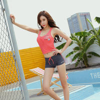Jiejia female models small chest gathered split swimsuit female conservative students swimwear boxer shorts were thin two-piece suit