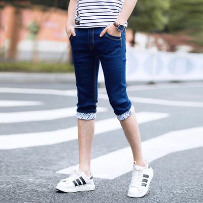 夏季弹力七分牛仔裤男士韩版修身7分小脚裤潮男装薄款夏天短裤子