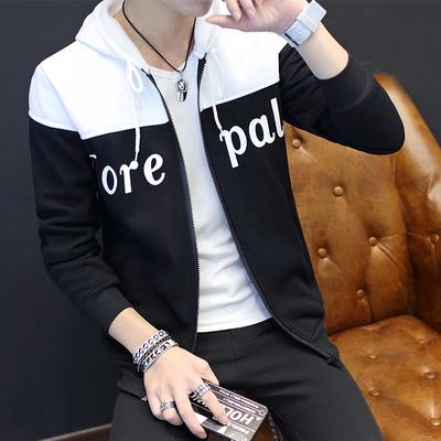 春季薄款黑色卫衣男士韩版棒球服潮男装青少年开衫连帽学生款外套