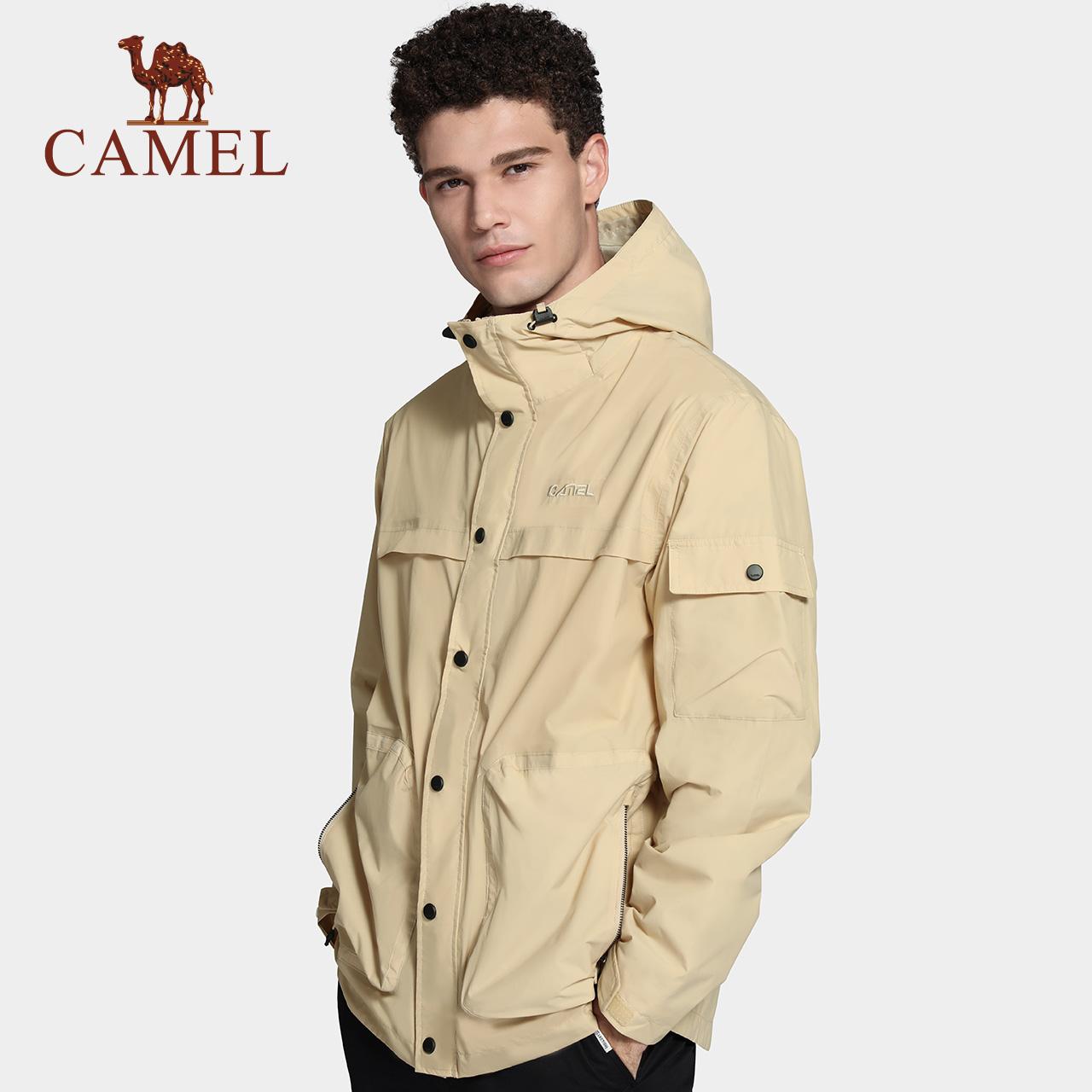 骆驼户外单层冲锋衣男装2020春季防水透气防风外套多口袋夹克上衣