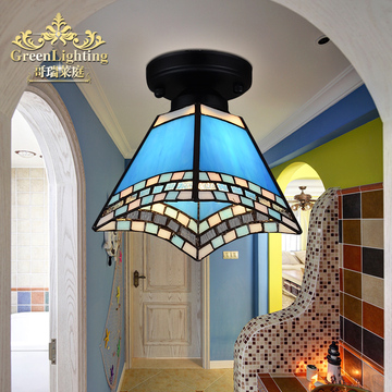 小吸顶灯地中海风格阳台创意过道玄关儿童房蓝色玻璃蒂凡尼灯饰