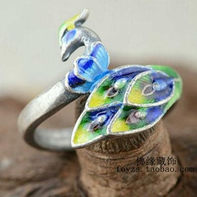 藏式风格泰银S925纯银戒指凤凰手环烧蓝风格女款凤穿牡丹手镯爆款特价精选