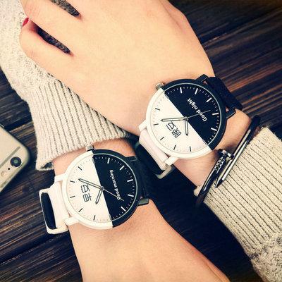 男女学生手表简约休闲复古时尚潮流韩版中性大表盘橡胶带情侣腕表官方旗舰店