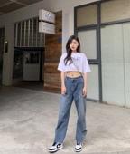 子韩版 宽松牛仔裤 WM妙匠 高腰裤 直筒裤 长裤 2019夏季新款 阔腿裤
