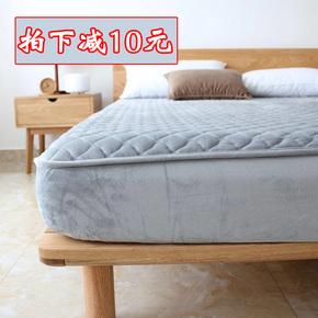 加厚水晶绒法兰绒夹棉床笠单件席梦思床垫保护套珊瑚绒1.8m床垫套