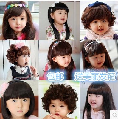 长卷发公主头饰假辫子女童小孩小女孩头发可爱儿童假发带头造型