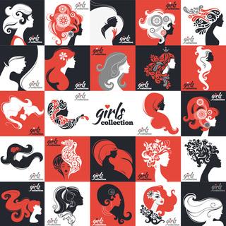 P173矢量EPS卡通人物美女头像素材头发剪影美容时尚海报设计标志