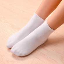 Children's Socks White Cotton Student Girls Spring and Autumn White Boys 2-12 Years Old Boys Barrel Pure Colored Barrel Socks