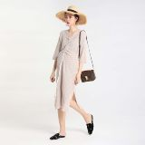 LAMMA French original small crowd design natural flax maternity dress in the long rope pulling Gexia new style