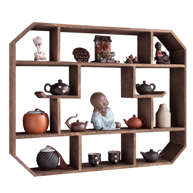 博古架实木中式壁挂式多宝阁挂墙茶壶架子摆架置物架简约现代古董