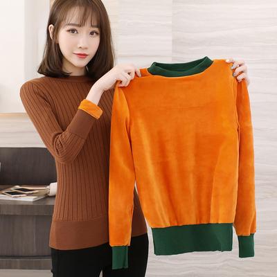 秋冬新款加绒加厚毛衣女半高领套头短款长袖针织衫保暖上衣打底衫