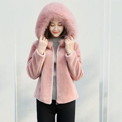 2018新款羊剪绒皮草外套女短款连帽修身显瘦仿狐狸毛皮毛一体大衣