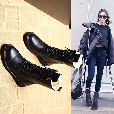 棉鞋女冬加绒平底马丁靴女短靴2018冬季新款百搭厚底中筒靴雪地靴