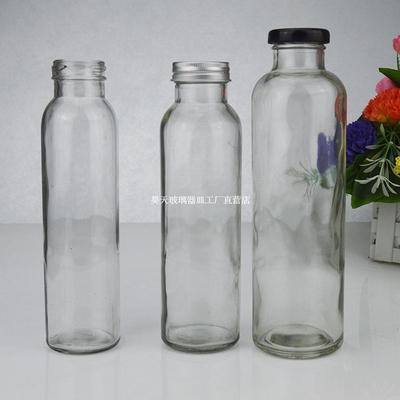 冷热泡茶木塞奶茶瓶直筒水瓶350 500ml果汁瓶随手带盖饮料玻璃瓶