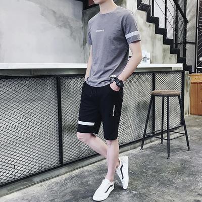 运动套装男短袖五分裤宽松学生2019新款夏季韩版休闲帅气两件套