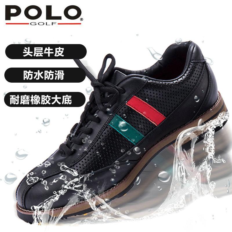 polo golf新款 高尔夫球鞋 男士运动手工鞋 防滑透气 防水