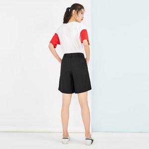 高腰短裤女夏装2018新款黑色阔腿直筒裤五分裤运动休闲裤太平鸟女