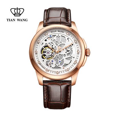 天王表手表男机械表时尚潮流镂空大表盘男表皮带男士手表GS5828