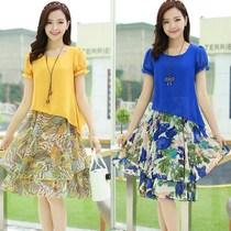 2017夏季少妇女装夏装修身时尚短袖印花连衣裙25至30到40岁35大码