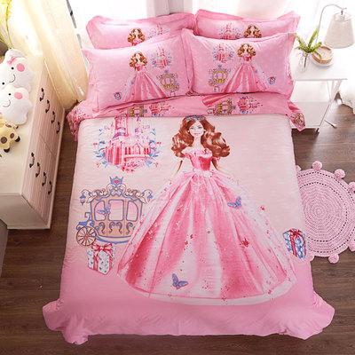 公主四件套纯棉芭比女孩磨毛床上用品儿童卡通被套床单三件套床笠