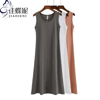 夏季新款韩版圆领加长款纯棉背心打底衫女装修身纯色休闲连衣裙