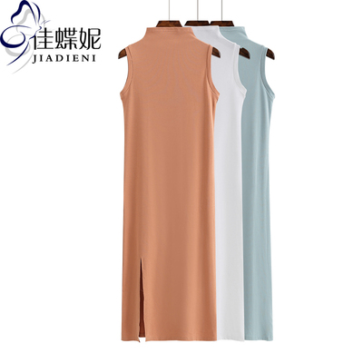 夏季新款韩版半高领纯棉修身加长款开叉无袖背心女装打底衫连衣裙