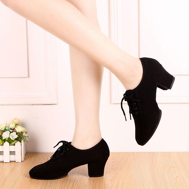 拉丁舞鞋女士成人真皮中跟交谊舞蹈鞋国标舞广场舞摩登t1-b教师鞋