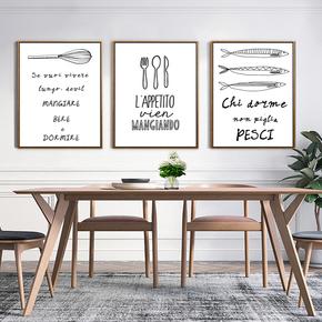 简约装饰画字母图案厨房餐厅挂画餐具餐桌样式简框画壁画素描框画