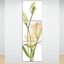 上下三联含苞待放玄关装饰画 竖款花朵无框画 组合画楼梯挂画壁画
