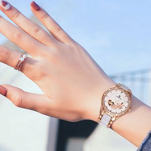 星皇正品手表女防水时尚潮流2018新款玫瑰金陶瓷机械镂空女士腕表