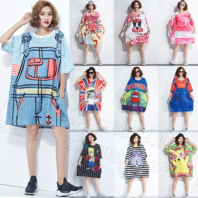 泰国潮牌大码女装加肥加大200斤超大宽松连衣裙海边度假t恤裙显瘦