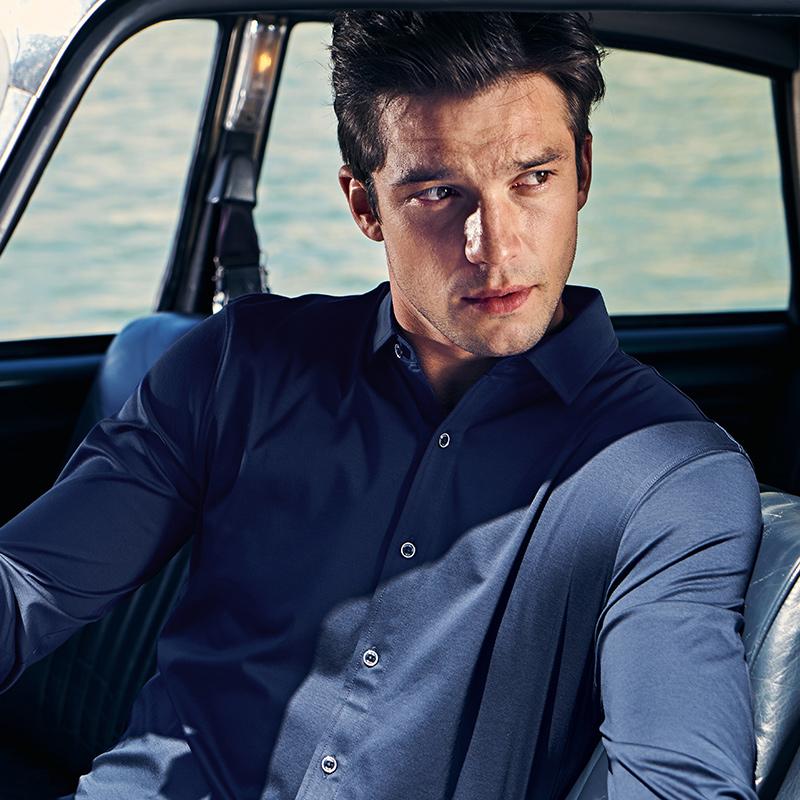 布先生衬衫式t 春秋季商务休闲纯棉男士衬衣长袖t恤正装上衣体恤