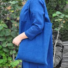 纯棉环保包袋购物袋 简约便携文艺 手工植物染草木染靛蓝