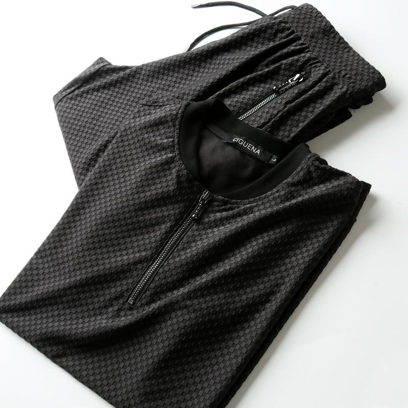 夏季新款透气弹力格纹休闲运动套装男 棒球领短袖轻薄男士套装