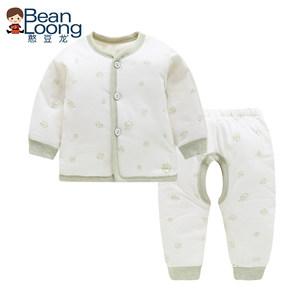 憨豆龙婴儿棉服彩棉加厚内衣套装宝宝纯棉保暖冬装新生儿薄棉衣服