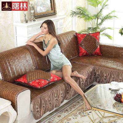 曙林夏季热天麻将竹凉席沙发垫子可定做布艺皮沙发套贵妃转角防滑使用感受