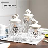 糖罐玻璃欧式创意糖果储物罐子陶瓷带盖北欧水晶收纳罐摆件装图片