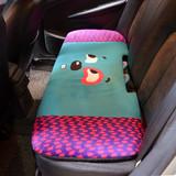 亚麻夏季后排汽车坐垫四季卡通座垫可爱座套通用无靠背单片车用品