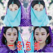 古风侠女唯美面纱影视剧同款雪纺面纱美女蒙面纱多色透气蒙面纱