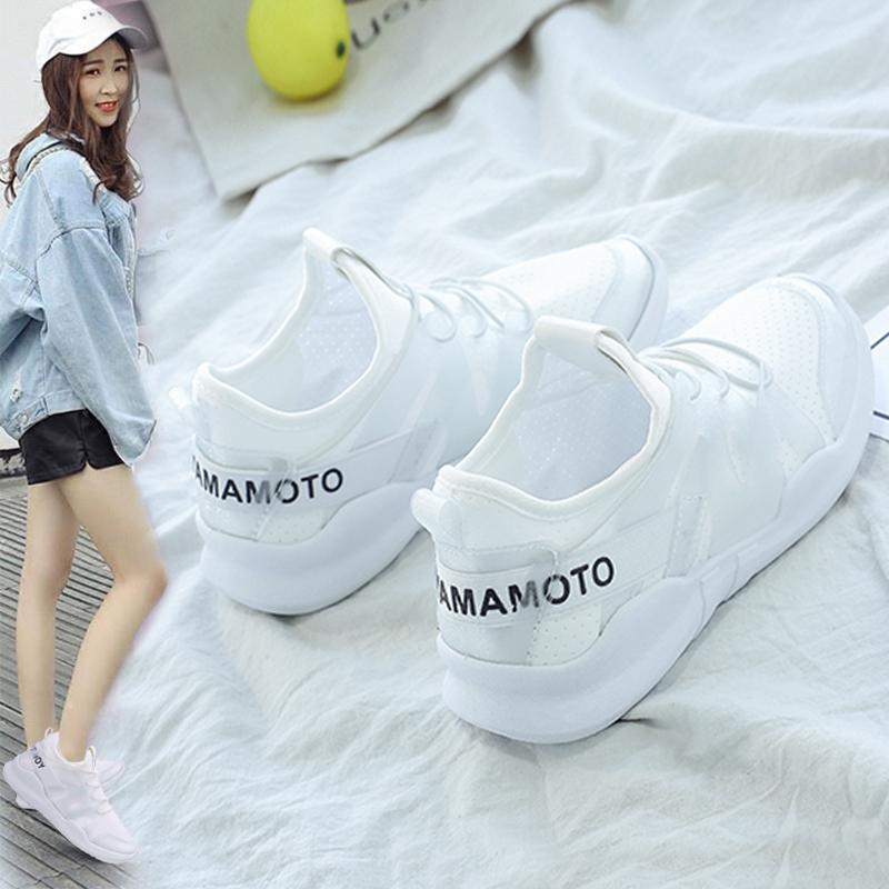 2018春季新款运动鞋女韩版学生跑步透气百搭小白鞋网鞋夏休闲板鞋